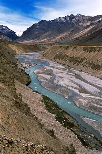 The brilliant blue water of the Tsarup Chu River just past Sarchu, Ladakh.
