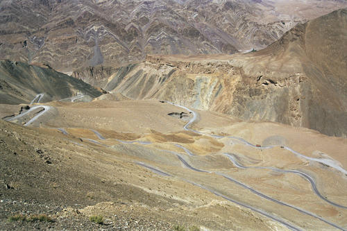 The zig-zagging road called the 'Gatta Loops' that winds its way through the Nakeela Pass, Ladakh.