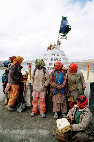 Local women waiting for a lift at the Taglang La Pass, Ladakh.