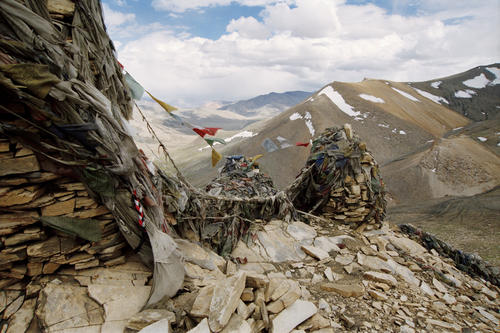 The wind swept and austere scenery viewed from the top of the Taglang La Pass, Ladakh.