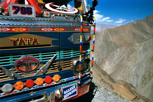 One of the marvelously coloured trucks that ply the Manali-Leh road.