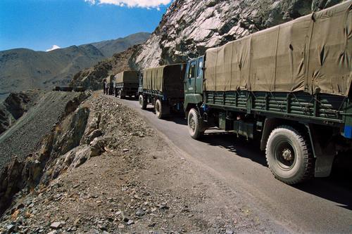 A convoy of army trucks plying the Manali-Leh road.