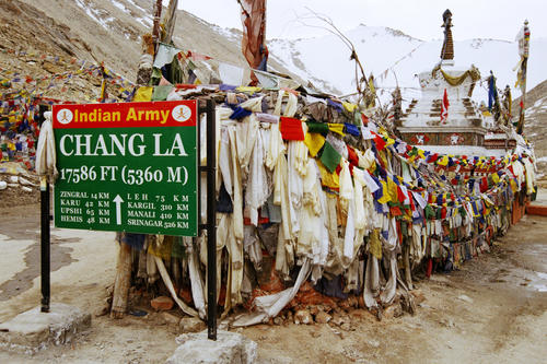 The Chang La pass, arguably the world's third highest motorable pass close to Sakti, Ladakh.