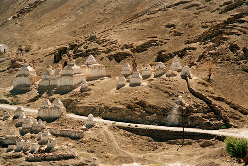 Chortens or stupas adorn the entrances and surroundings of most Ladakhi temples.