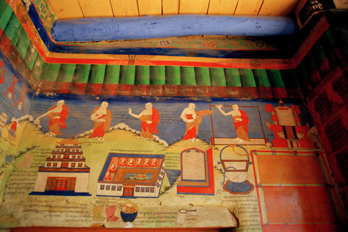 Iconic wall murals at the Hemis temple, Ladakh.
