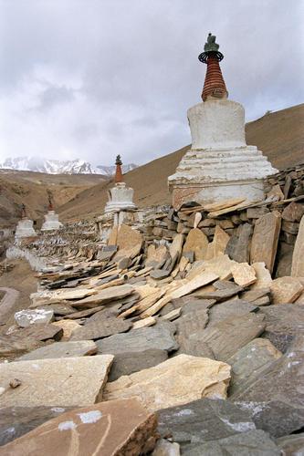 Chortens and mani stones at Korzok, Ladakh.