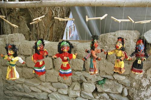 Marionettes for sale in Alchi. Ladakh.