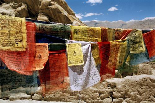 Prayer flags straddle the Leh-Korzok road, Ladakh.