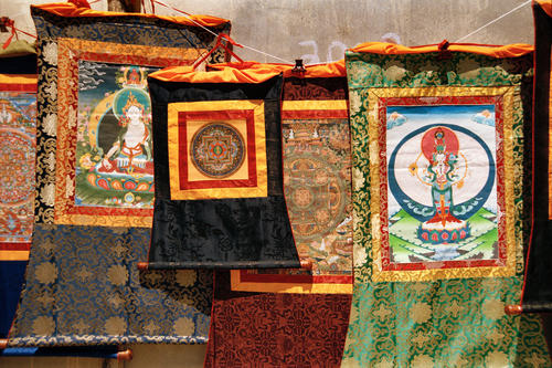 Iconic wall murals and pendants for sale the Hemis temple, Ladakh.