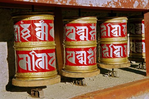 Prayer wheels at the Lamayuru temple, Ladakh.