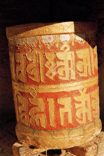 Ancient prayer wheels are a common feature of most of the temples in Ladakh.