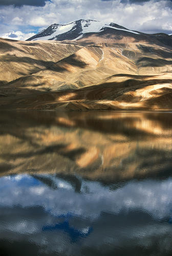 Clouds reflected in Lake Tso-Moriri, Korzok, Ladakh.