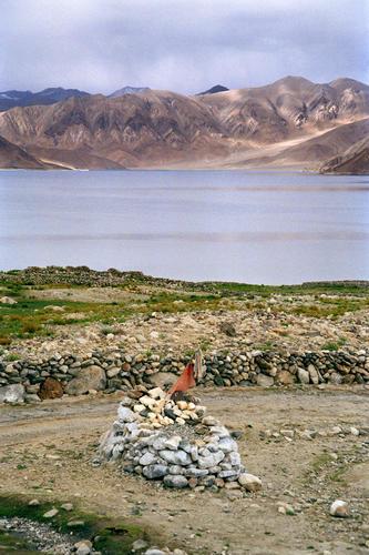 A mani wall at Lake Pangong , Ladakh.