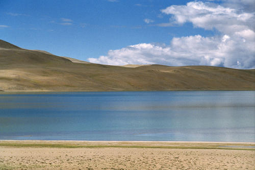 The saline water of the isolated Lake Tso Kar, Ladakh.