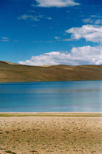 The saline water of the isolated Lake Tso Kar, Ladakh. LADAKH-PLA