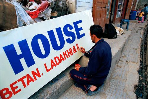 Sign writer at Leh, Ladakh.