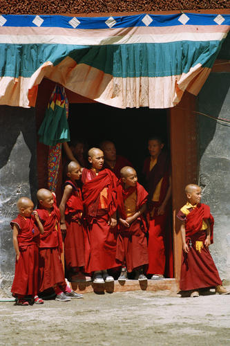 Young monks at the Phyang Temple TseDup festival, Ladakh.