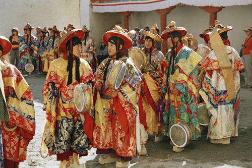 Ceremonial instruments being performed at the Phyang Temple TseDup festival, Ladakh.