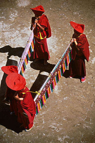 Ceremonial horns being performed at the Phyang Temple TseDup festival, Ladakh.