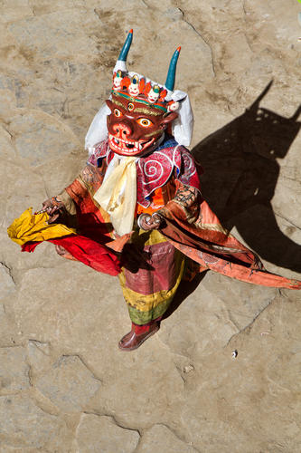 Ceremonial dance 'cham' being performed at the Korzok Gustor festival, Ladakh.