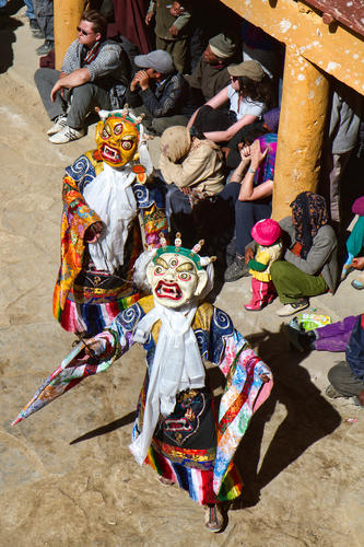 Ceremonial dance 'çham' being performed at the Korzok Gustor festival, Ladakh.