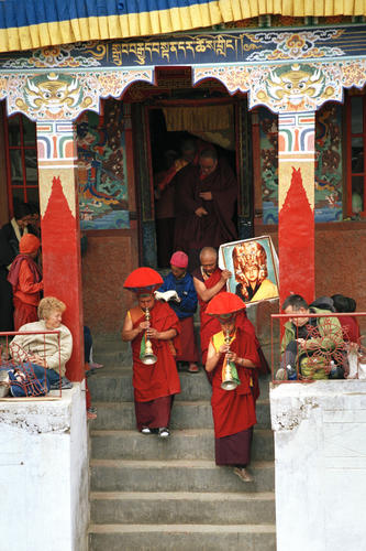 Ceremonial horns being played at the Korzok Gustor festival, Ladakh.