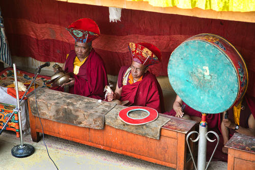Ceremonial instruments being played at the Korzok Gustor festival, Ladakh.