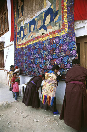 Buddhist devotees at the Korzok Gustor festival, Ladakh.
