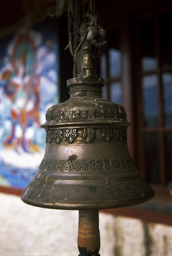 Ancient Buddhist bell at the Korzok Gompa, Ladakh.