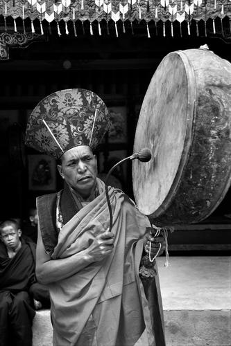 Ceremonial drum being played at the Hemis Gompa TseChu festival, Ladakh.