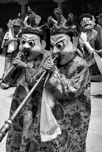 Musicians at the Hemis Gompa TseChu festival, Ladakh.