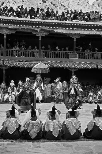 Ceremonial dance 'cham' being performed at the Hemis Gompa TseChu festival, Ladakh.