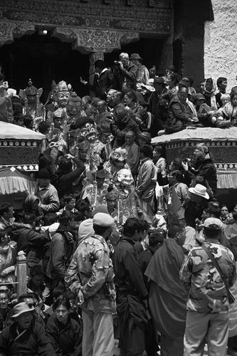 Costumed monks at the Hemis Gompa TseChu festival, Ladakh.
