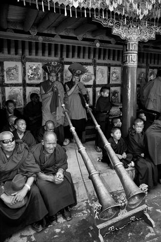 Ceremonial horns at the Hemis Gompa TseChu festival, Ladakh.