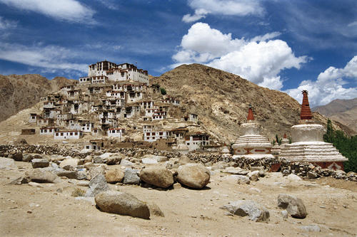 A panorama of the Hemis temple, Ladakh.