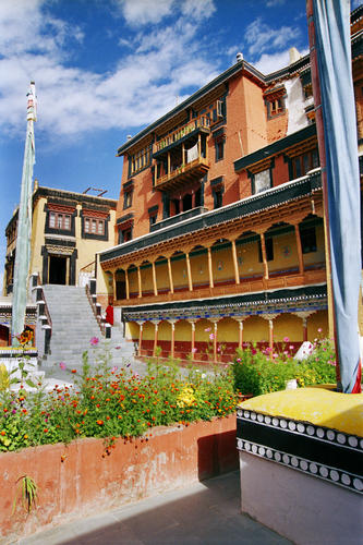 The courtyard at the Thiksey temple, Ladakh.