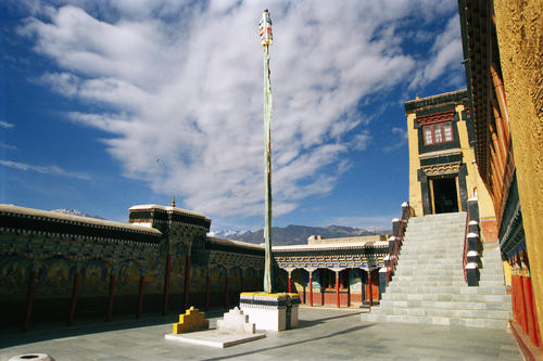 The staircase in the courtyard that leads to the Chamkhang the most important inner sanctum at the Thiksey temple, Ladakh.