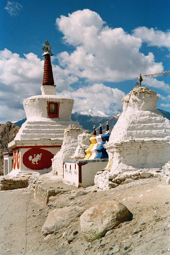 Chortens that guard the entrance to the Phyang temple, Ladakh.