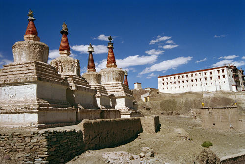 Chortens guarding the Stok Palace, Ladakh.