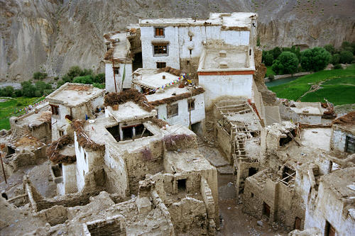 Panorama of some of the ancient outhouses at the Lamayuru temple, Ladakh.