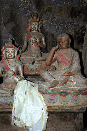 Ancient deities on display in the Gonkhang chamberat the Lamayuru temple, Ladakh.
