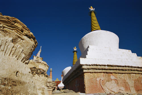 Chortens at the Lamayuru temple, Ladakh.