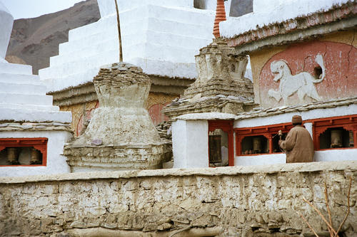 Part of the courtyard leading to the Lamayuru temple, Ladakh.