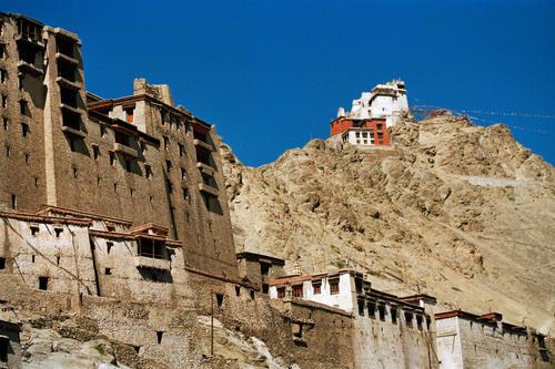 Leh Palace and the Nangyal Tsemo temple, Leh.