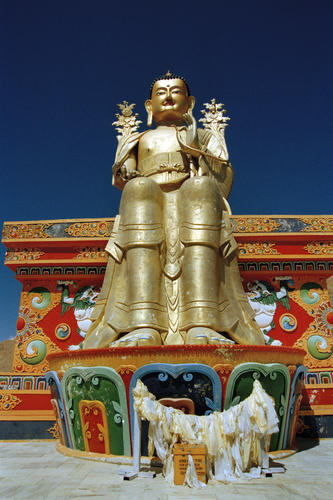 The giant open-air Maitreya statue at the Likir temple, Ladakh.