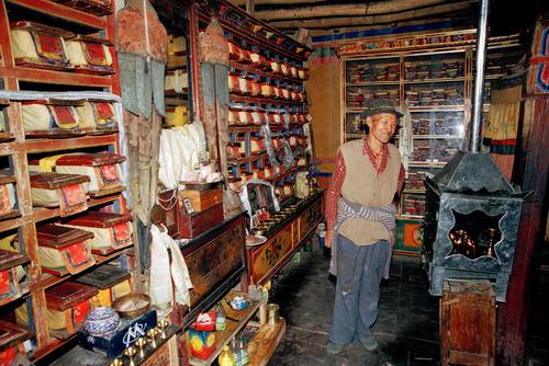 The caretaker of the ancient library in the Alchi temple, Ladakh.