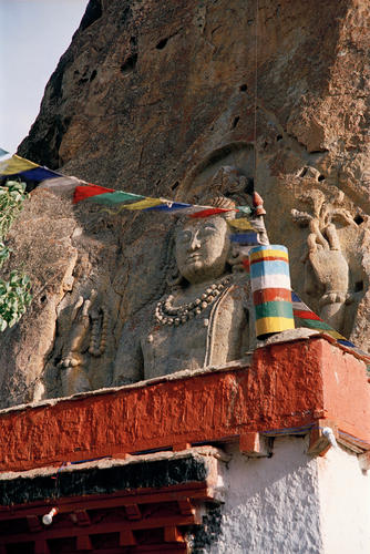 The giant open-air Maitreya statue at the Mulbekh temple, Ladakh.