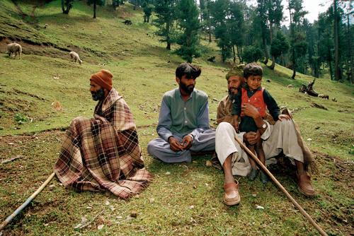 Shepherds in a meadow at Pahalgam, Kashmir.