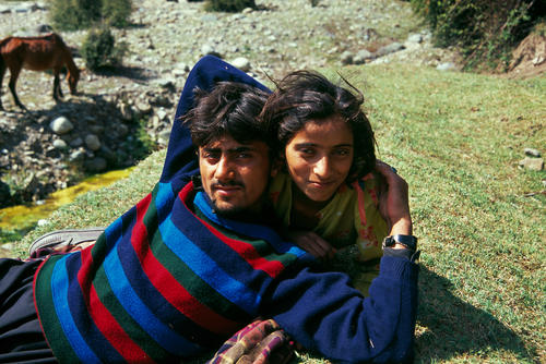 Young couple outside Gulmarg, Kashmir.