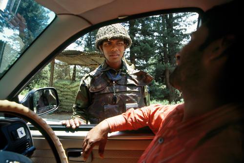 Security check at Srinagar, Kashmir.
